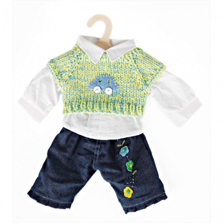 Puppen-Jeansset mit Pullunder und Hemd, klein, Gr. 28-33 cm