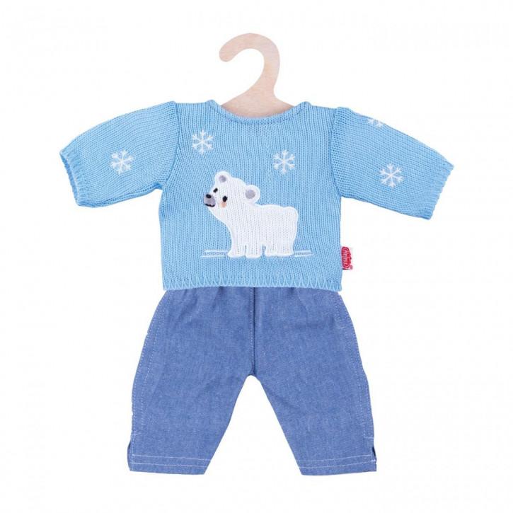 Puppen-Eisbär-Pullover mit Jeans, klein, Gr. 28-35 cm
